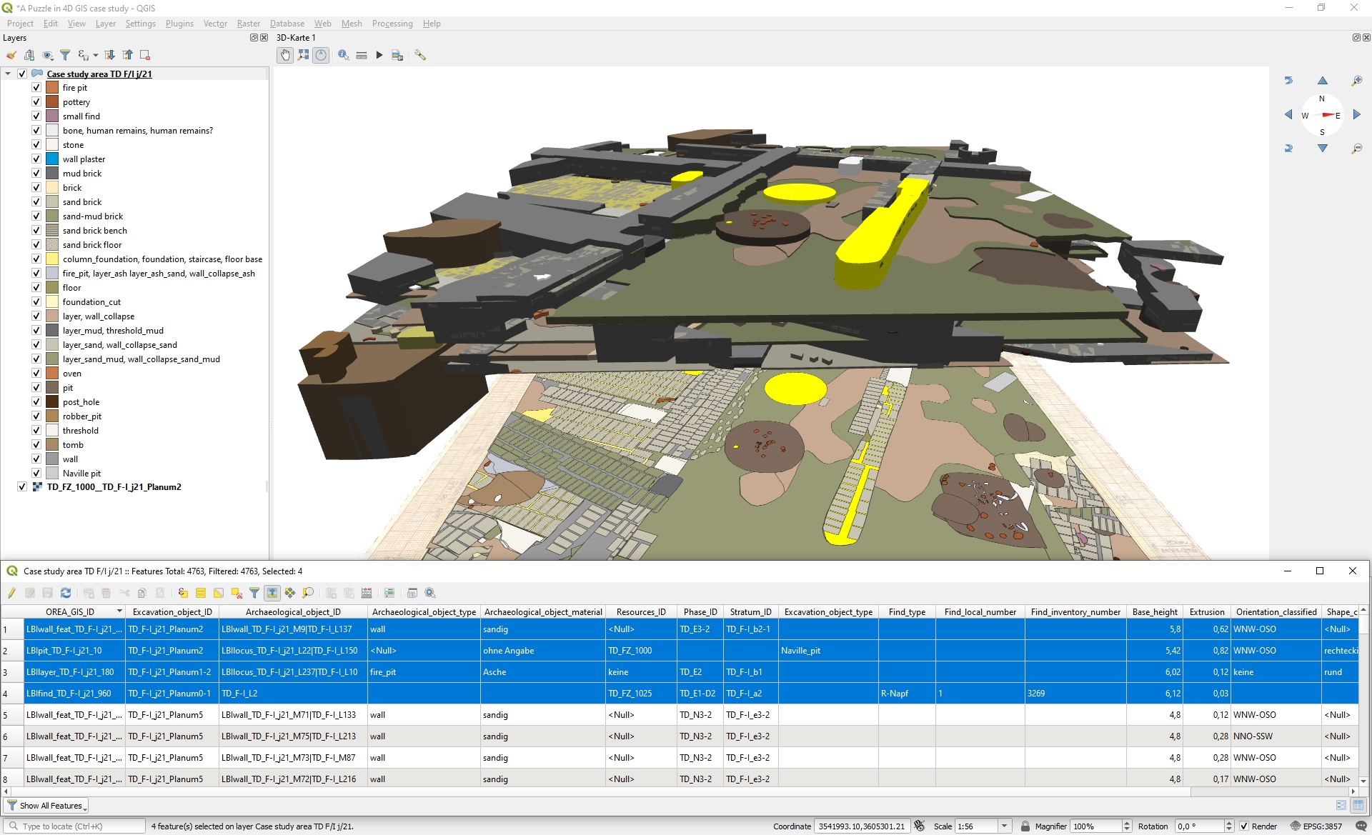 Screenshot of the 3D view of the GIS project in QGIS.
