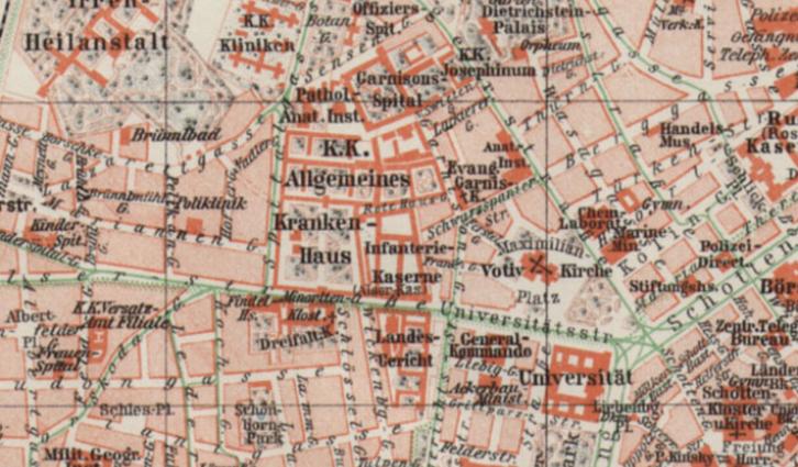 Stadtplan von Wien innerhalb des Gürtels, Beilage zum Meyers Konversationslexikon von 1905.